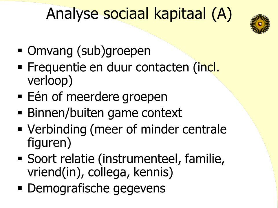 Analyse sociaal kapitaal (A)