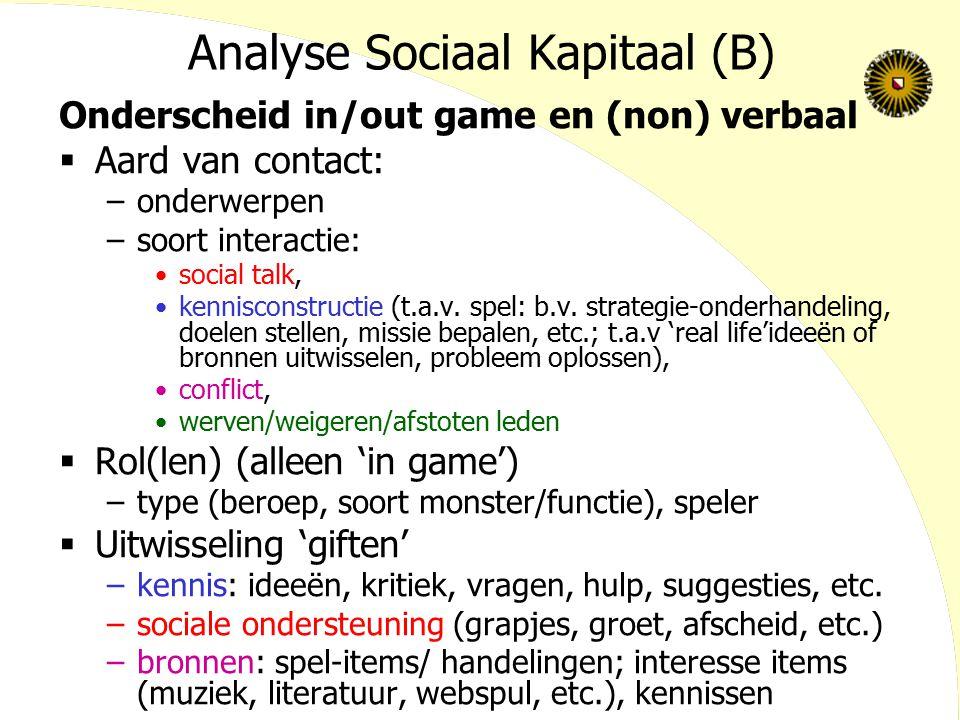 Analyse Sociaal Kapitaal (B)