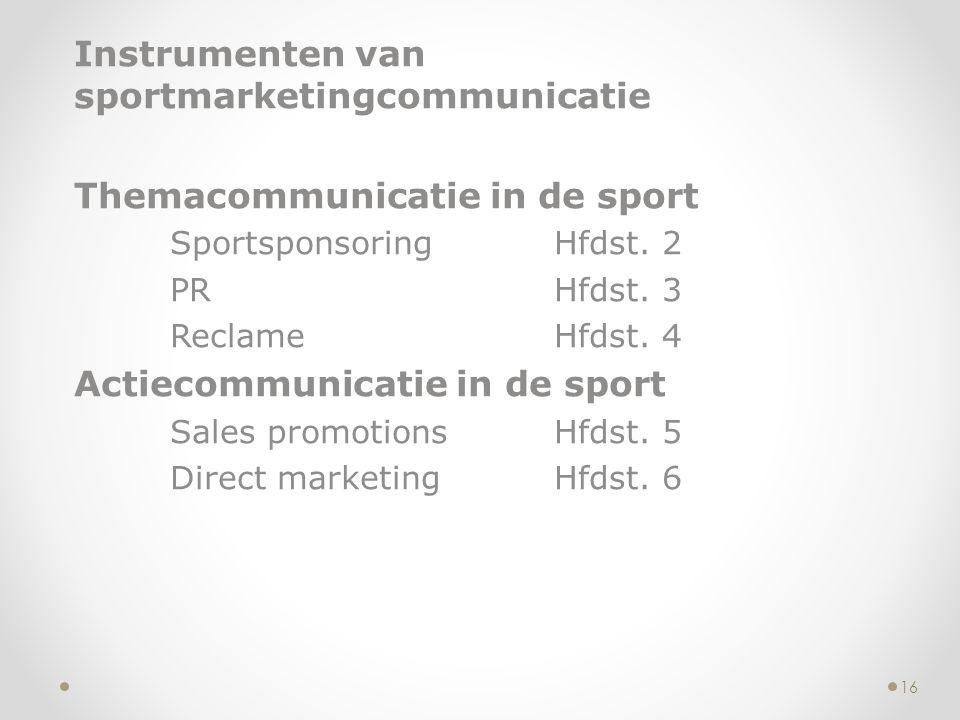 Instrumenten van sportmarketingcommunicatie