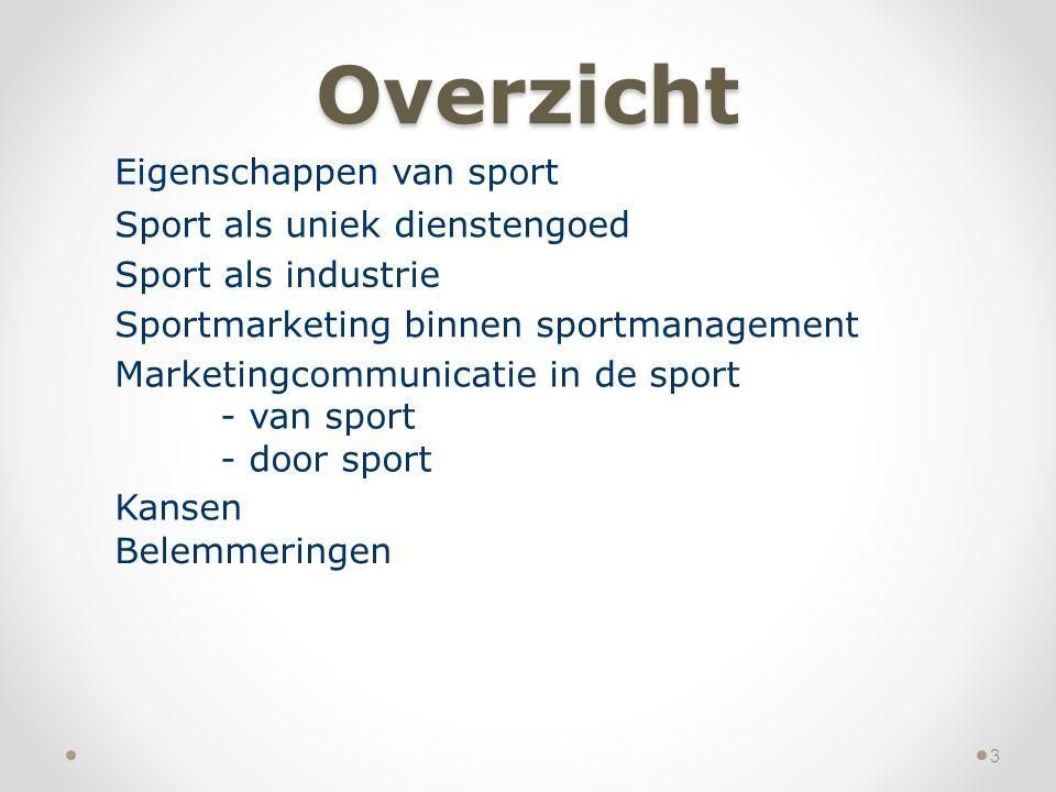 Overzicht Eigenschappen van sport Sport als uniek dienstengoed