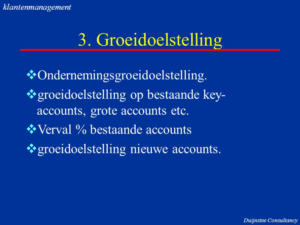 3. Groeidoelstelling Ondernemingsgroeidoelstelling.