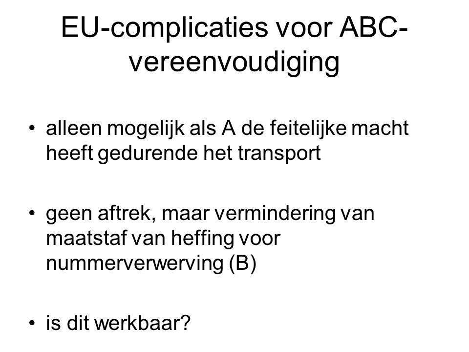 EU-complicaties voor ABC-vereenvoudiging