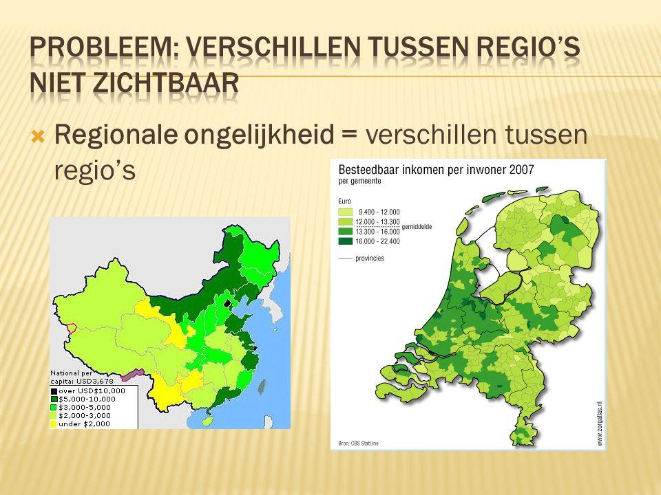 Probleem: verschillen tussen regio's niet zichtbaar