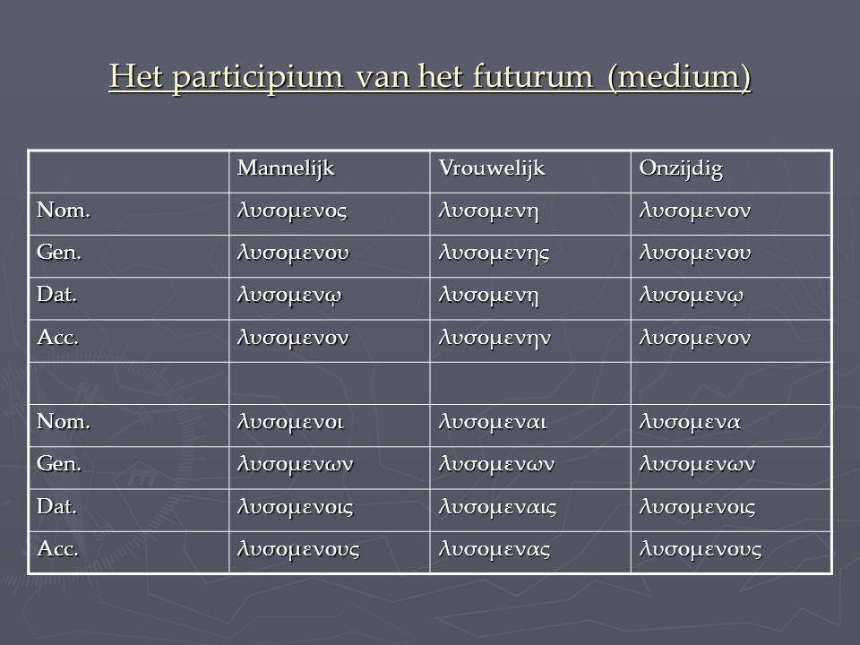 Het participium van het futurum (medium)