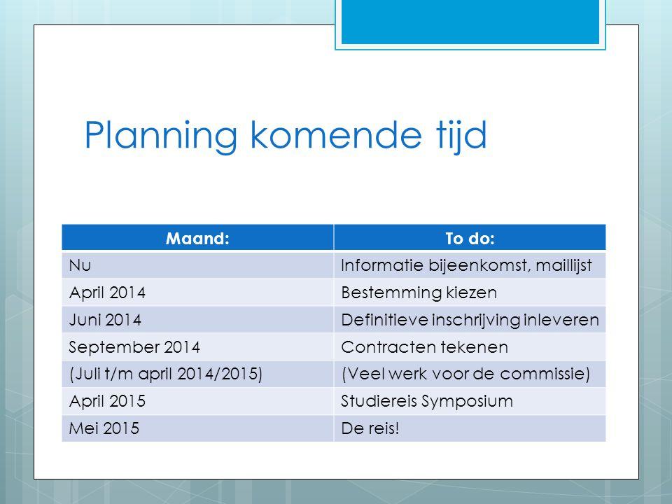Planning komende tijd Maand: To do: Nu