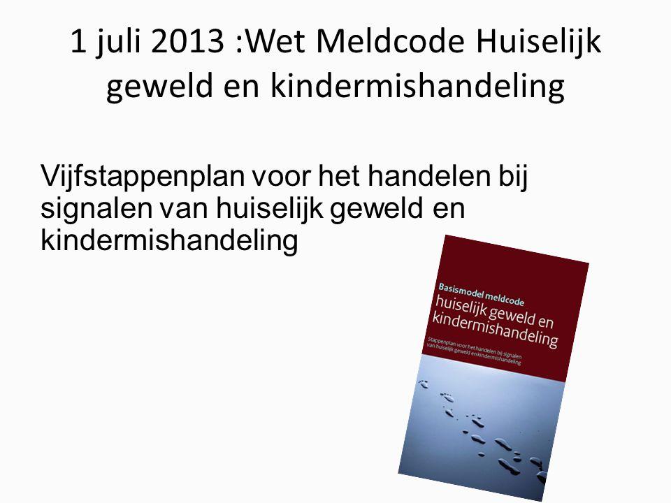 1 juli 2013 :Wet Meldcode Huiselijk geweld en kindermishandeling