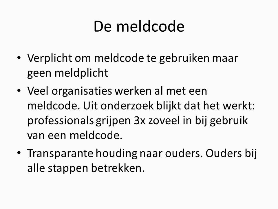 De meldcode Verplicht om meldcode te gebruiken maar geen meldplicht