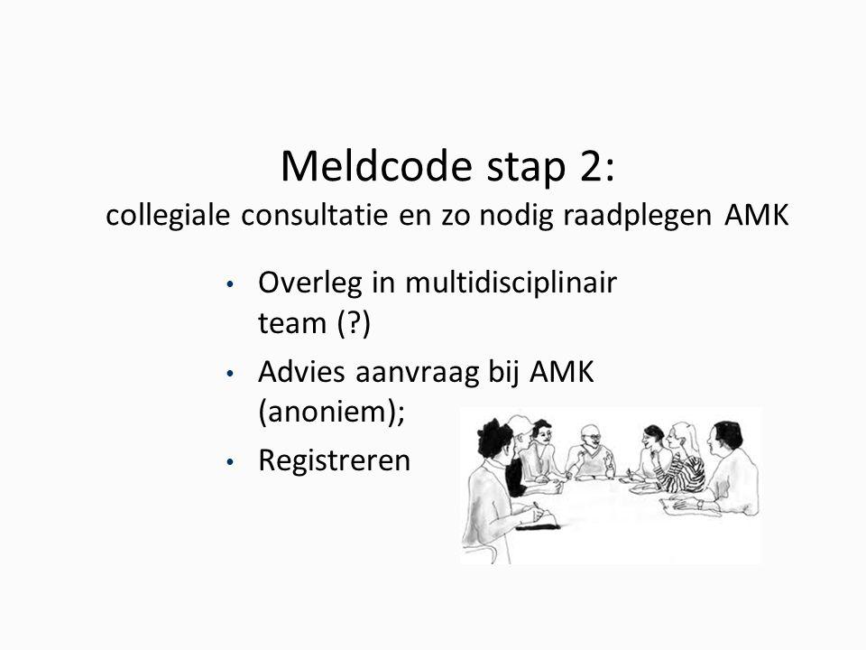 Meldcode stap 2: collegiale consultatie en zo nodig raadplegen AMK