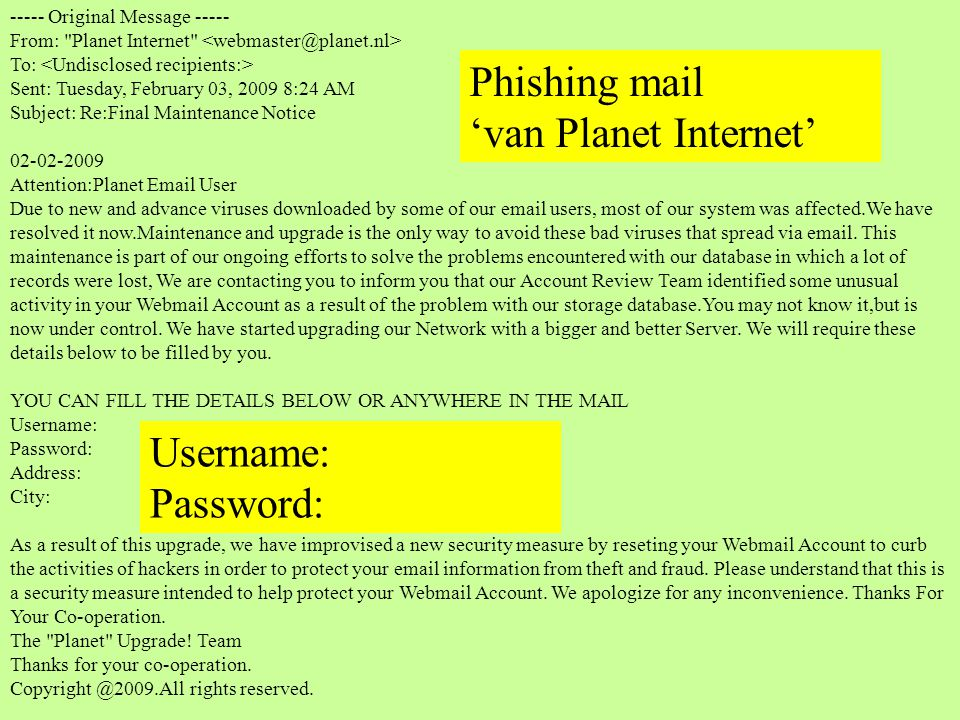 Phishing mail 'van Planet Internet' Username: Password: