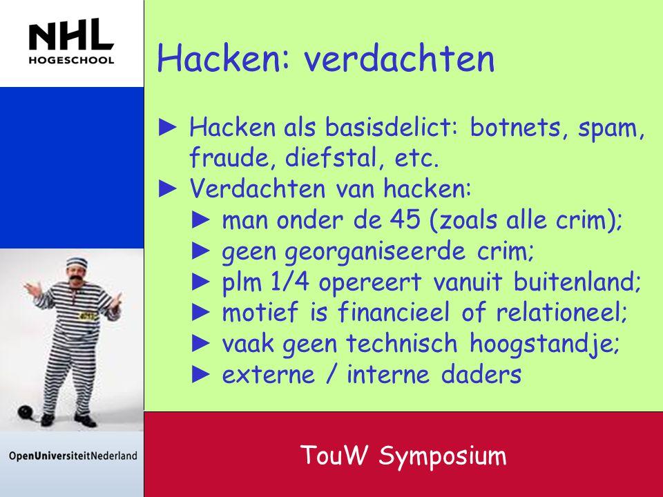 Hacken: verdachten Hacken als basisdelict: botnets, spam, fraude, diefstal, etc. Verdachten van hacken: