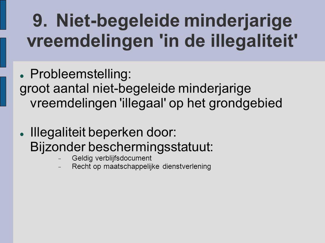 9. Niet-begeleide minderjarige vreemdelingen in de illegaliteit