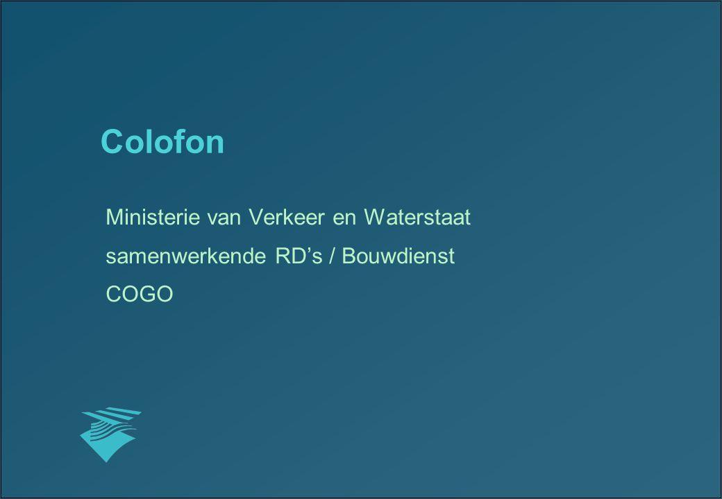 Colofon Ministerie van Verkeer en Waterstaat
