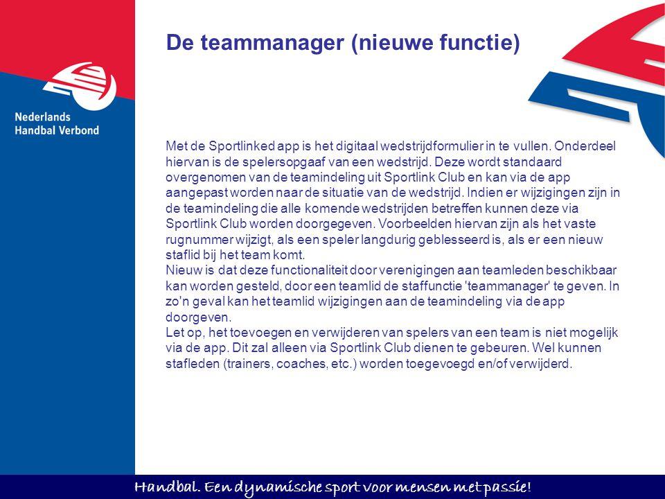 De teammanager (nieuwe functie)