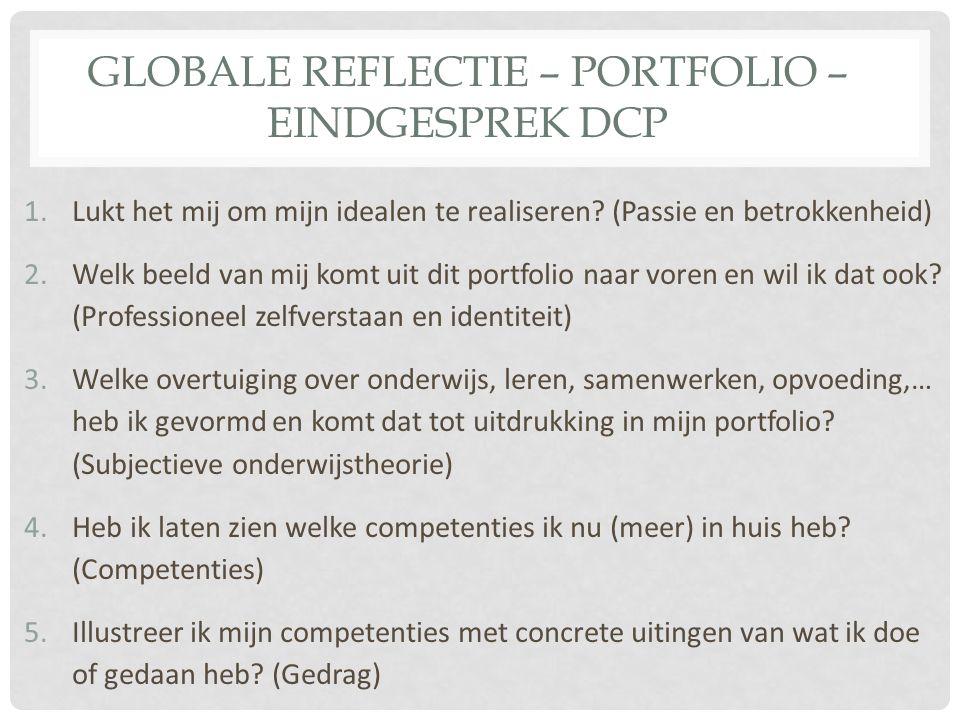 Globale reflectie – portfolio – eindgesprek DCp