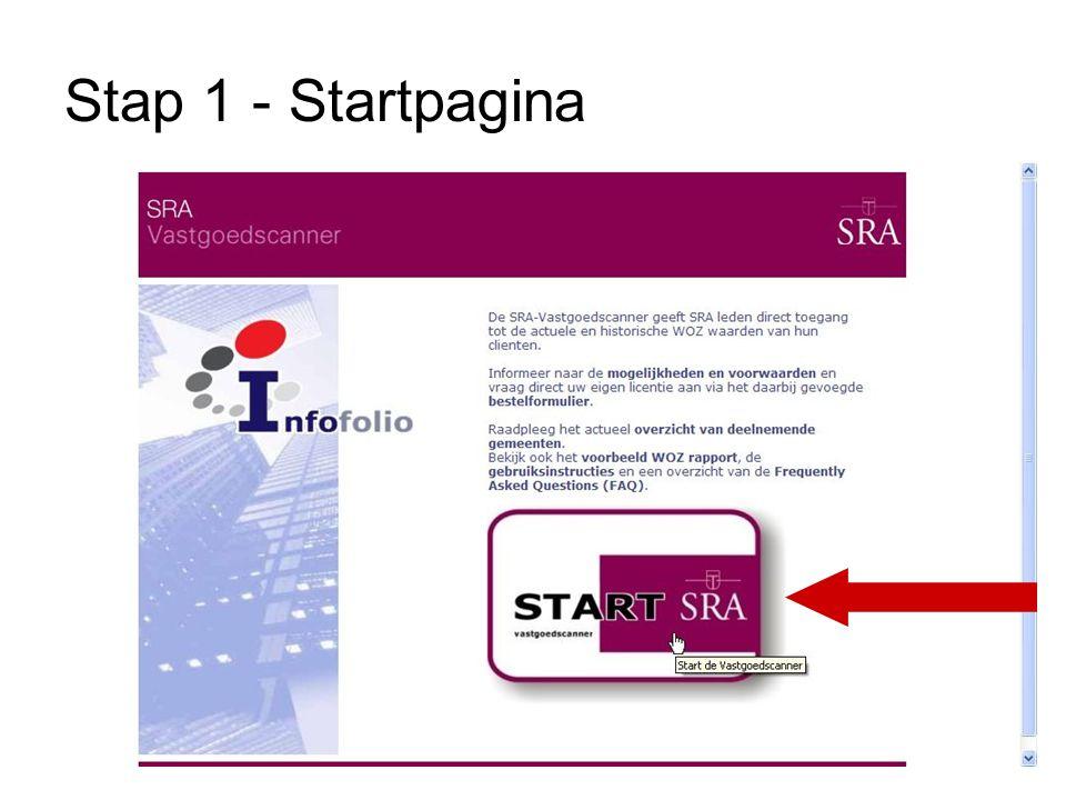 Stap 1 - Startpagina