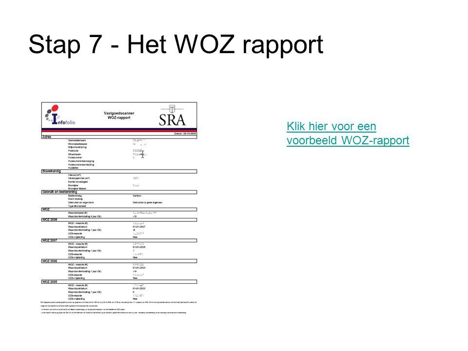 Stap 7 - Het WOZ rapport Klik hier voor een voorbeeld WOZ-rapport