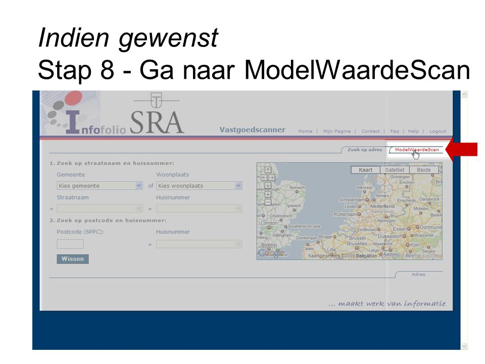 Indien gewenst Stap 8 - Ga naar ModelWaardeScan