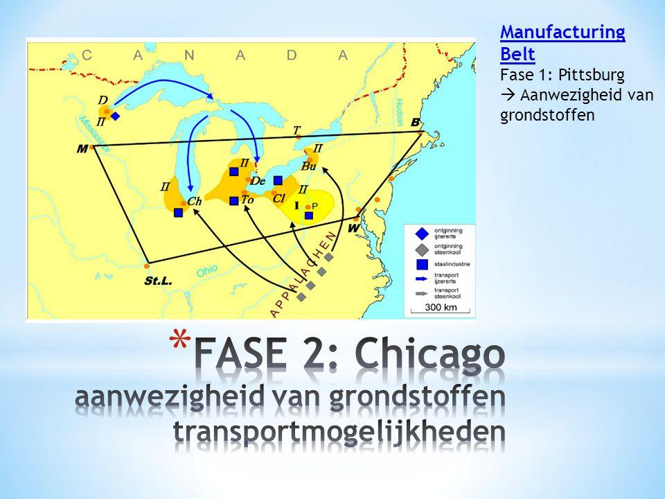 FASE 2: Chicago aanwezigheid van grondstoffen transportmogelijkheden