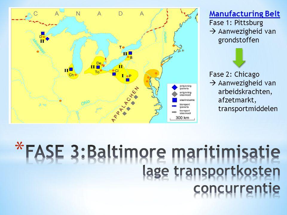 FASE 3:Baltimore maritimisatie lage transportkosten concurrentie