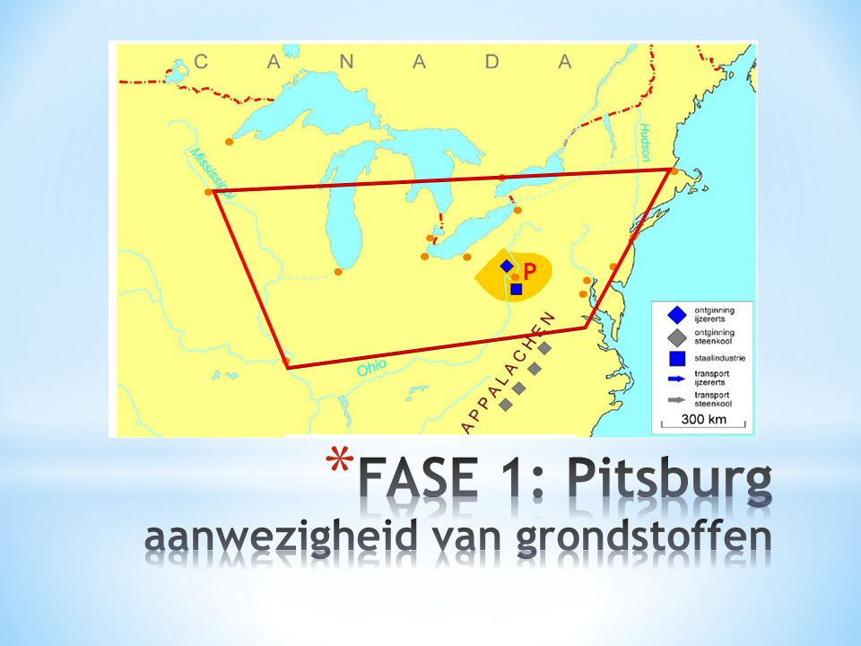 FASE 1: Pitsburg aanwezigheid van grondstoffen