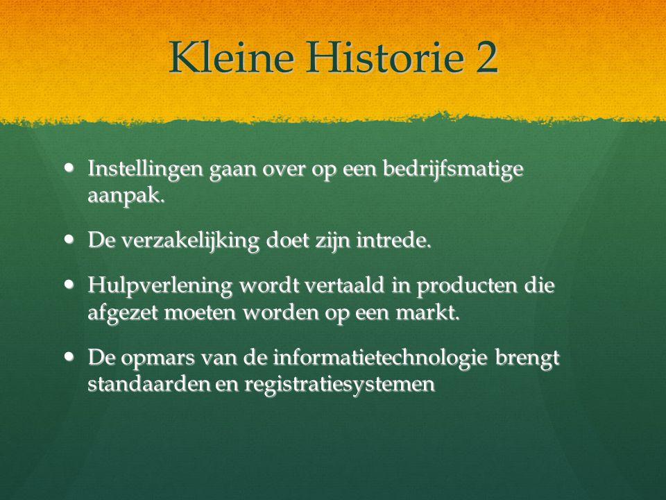 Kleine Historie 2 Instellingen gaan over op een bedrijfsmatige aanpak.