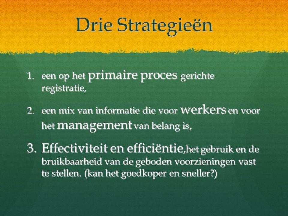 Drie Strategieën een op het primaire proces gerichte registratie, een mix van informatie die voor werkers en voor het management van belang is,
