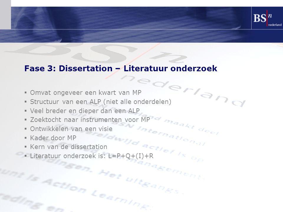 Fase 3: Dissertation – Literatuur onderzoek