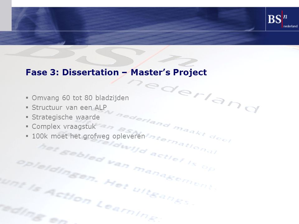 Fase 3: Dissertation – Master's Project