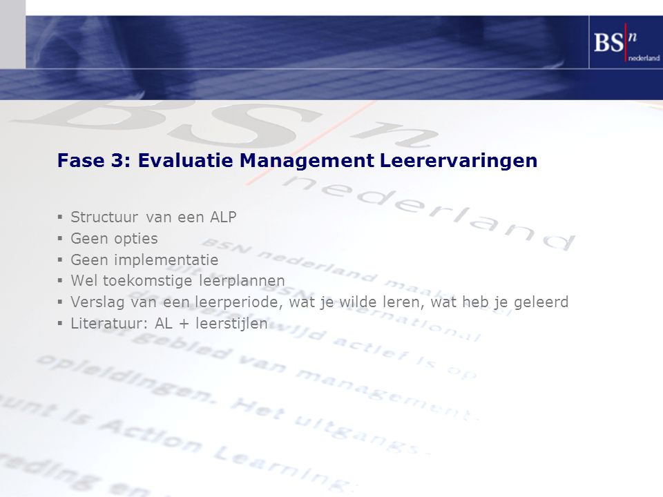 Fase 3: Evaluatie Management Leerervaringen