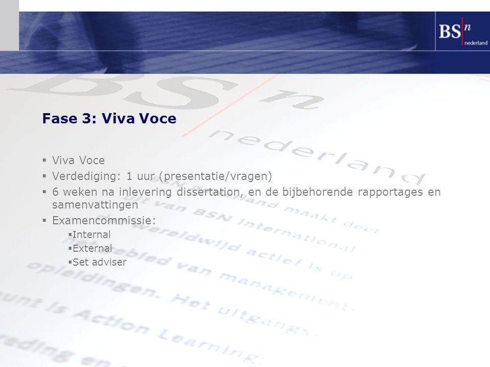 Fase 3: Viva Voce Viva Voce Verdediging: 1 uur (presentatie/vragen)