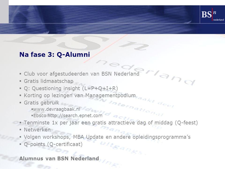 Na fase 3: Q-Alumni Club voor afgestudeerden van BSN Nederland
