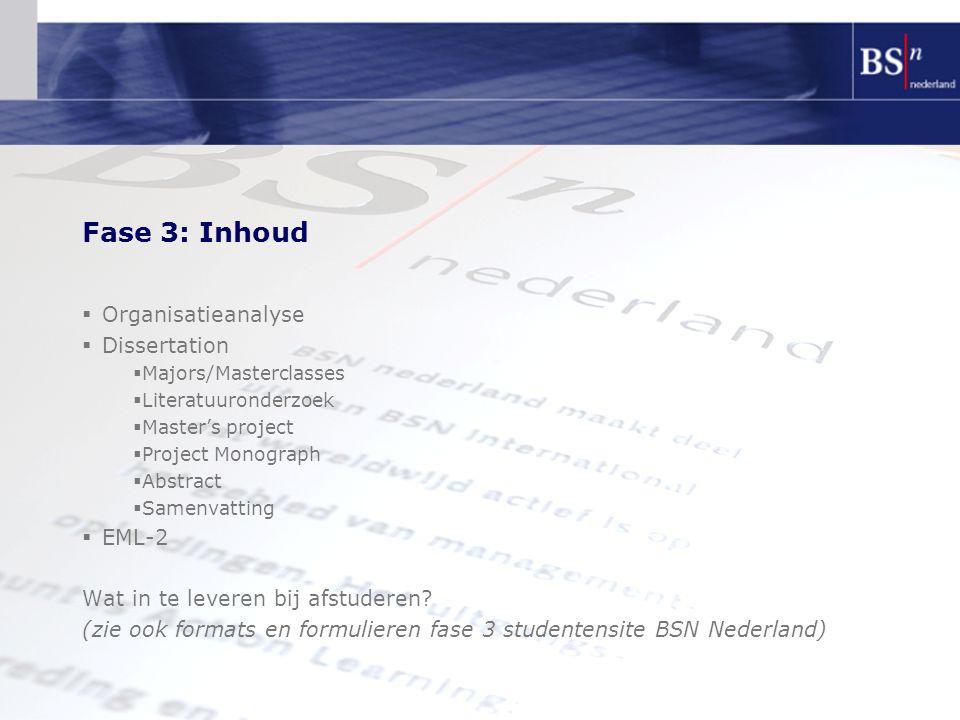 Fase 3: Inhoud Organisatieanalyse Dissertation EML-2