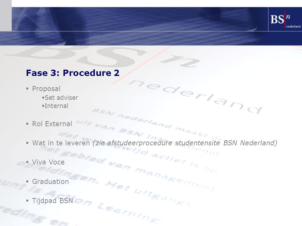 Fase 3: Procedure 2 Proposal Rol External