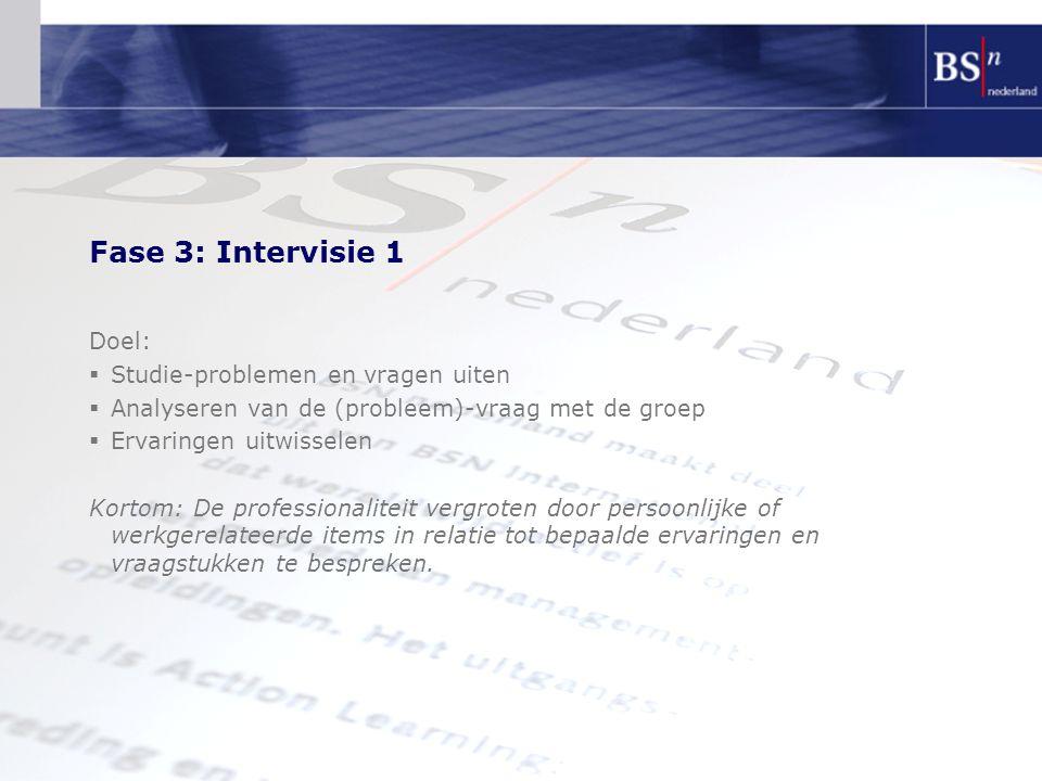 Fase 3: Intervisie 1 Doel: Studie-problemen en vragen uiten