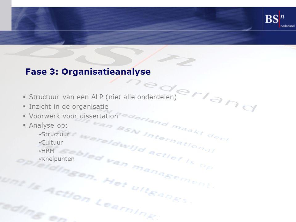 Fase 3: Organisatieanalyse