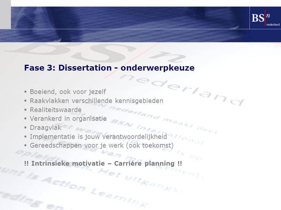Fase 3: Dissertation - onderwerpkeuze