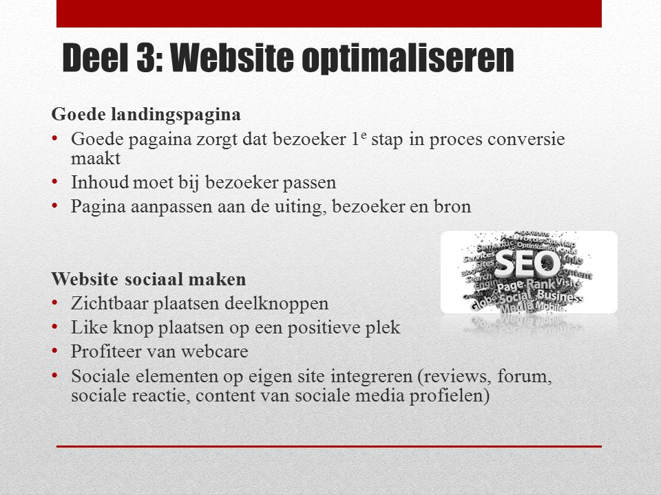 Deel 3: Website optimaliseren