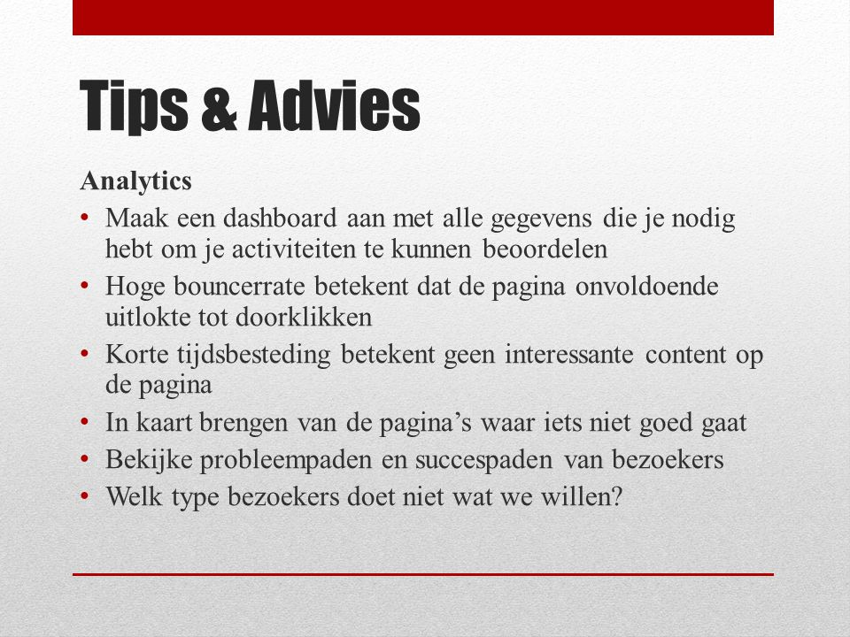 Tips & Advies Analytics