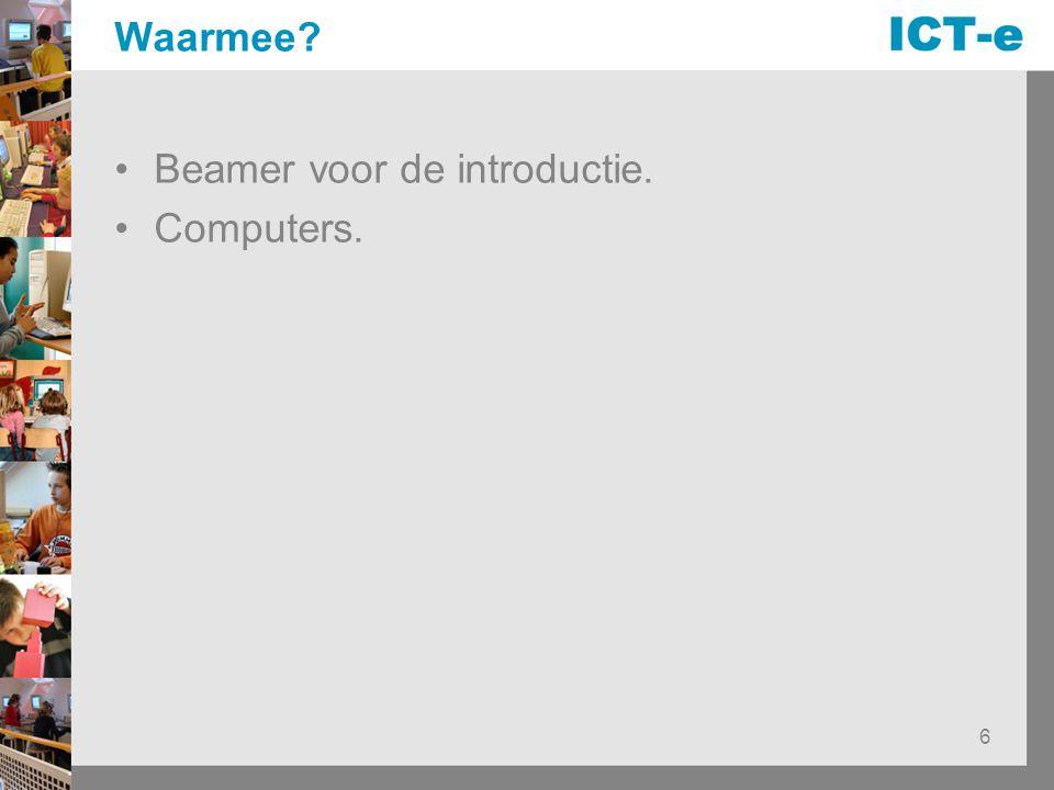 Waarmee Beamer voor de introductie. Computers.