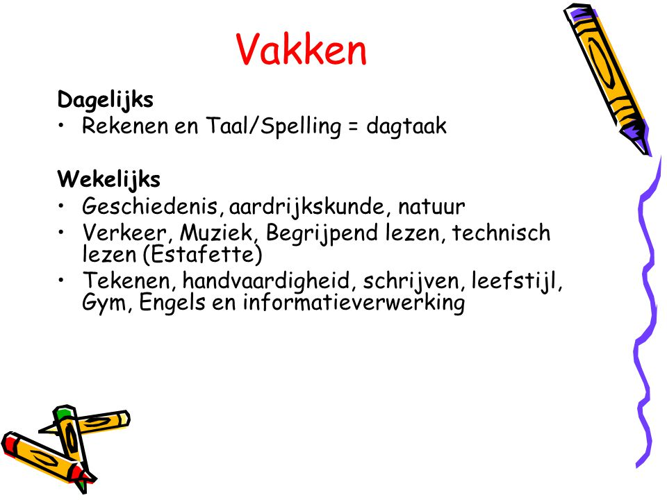 Vakken Dagelijks Rekenen en Taal/Spelling = dagtaak Wekelijks