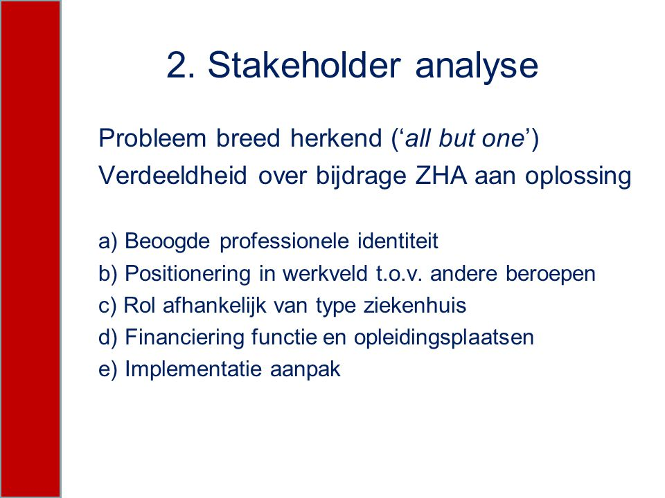 2. Stakeholder analyse Probleem breed herkend ('all but one')