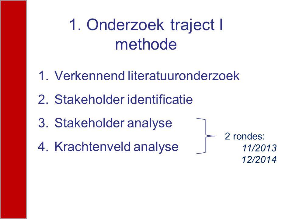 1. Onderzoek traject I methode