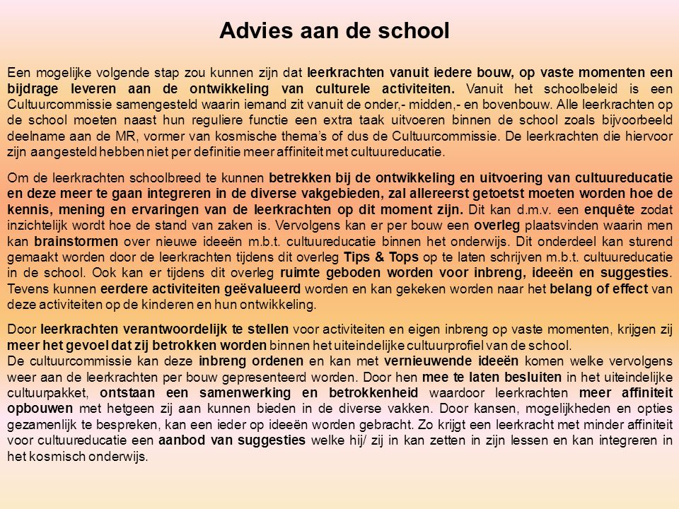 Advies aan de school