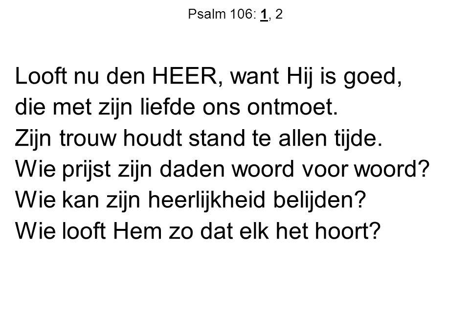 Looft nu den HEER, want Hij is goed, die met zijn liefde ons ontmoet.