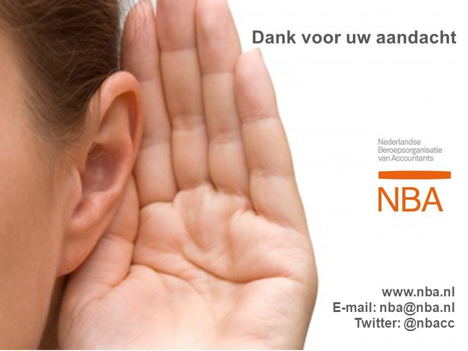 Dank voor uw aandacht www.nba.nl E-mail: nba@nba.nl Twitter: @nbacc