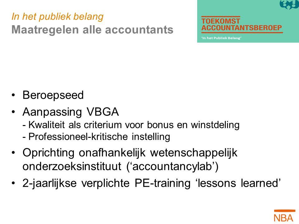 In het publiek belang Maatregelen alle accountants