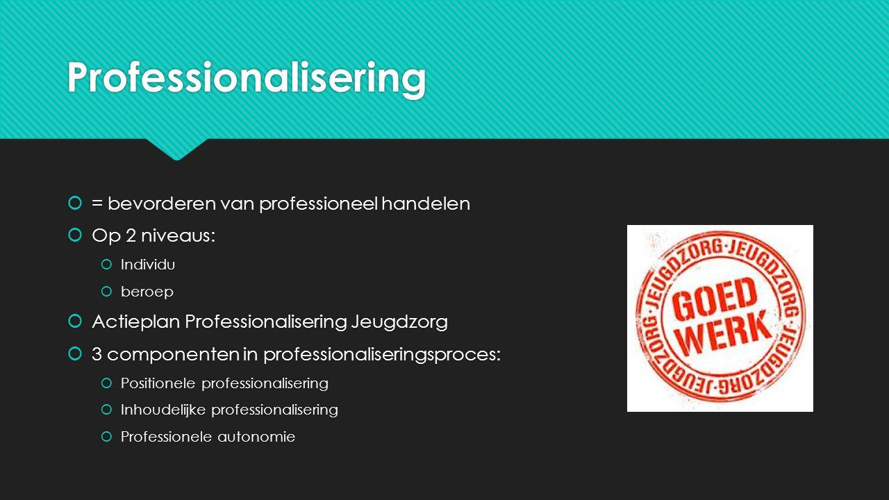 Professionalisering = bevorderen van professioneel handelen