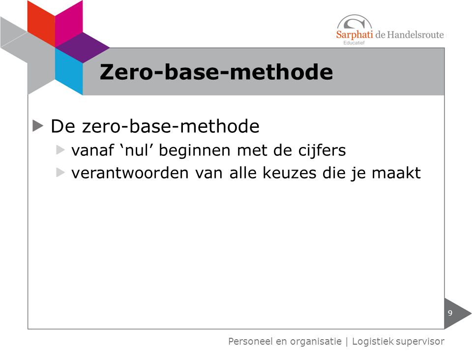 Zero-base-methode De zero-base-methode