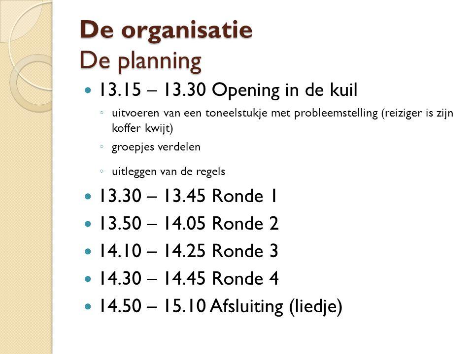 De organisatie De planning