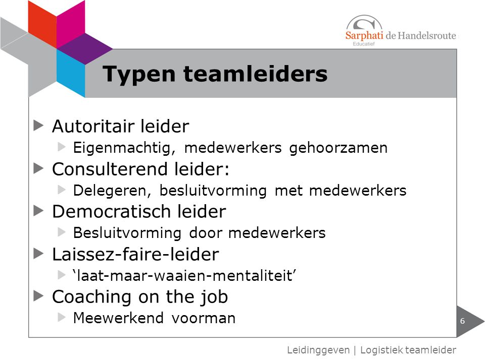 Typen teamleiders Autoritair leider Consulterend leider: